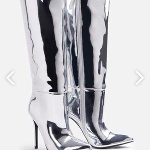 Metallic knee boots